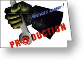 War Production Greeting Cards - Americas Answer Production  Greeting Card by War Is Hell Store