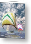 Sportsmen Greeting Cards - Americas cup . . . the upset.  Greeting Card by Carol and Mike Werner