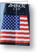 Green Tag Greeting Cards - Americas Cup in San Francisco - Oracle Team USA - 5D18364 Greeting Card by Wingsdomain Art and Photography