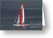 Boats Greeting Cards - Americas Cup in San Francisco - Italy Luna Rossa Paranha Sailboat - 7D19041 Greeting Card by Wingsdomain Art and Photography