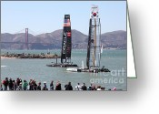 San Francisco Bay Greeting Cards - Americas Cup Racing Sailboats in The San Francisco Bay - 5D18253 Greeting Card by Wingsdomain Art and Photography