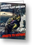 Second Greeting Cards - Americas Fishing Fleet And Men  Greeting Card by War Is Hell Store