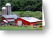 Farm Fields Greeting Cards - Americas Heartland Greeting Card by DigiArt Diaries by Vicky Browning
