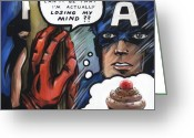 Captain America Greeting Cards - Americas Problem - Captain America Greeting Card by Ryan Jones