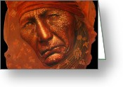 Indians Greeting Cards - AmeriKan Greeting Card by Jurek Zamoyski