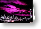 Purple Clouds Greeting Cards - Amethyst City Greeting Card by Benjamin Yeager