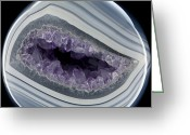 Geode Greeting Cards - Amethyst Filled Geode Greeting Card by Dirk Wiersma