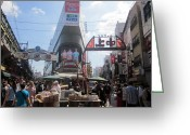 Hustle Bustle Greeting Cards - Ameyoko Food Markets Tokyo Greeting Card by Charleen Morris