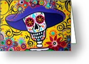 Calaveras Greeting Cards - Amiga Catrina Greeting Card by Pristine Cartera Turkus