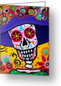 Calaveras Greeting Cards - Amiga Catrina Smile Greeting Card by Pristine Cartera Turkus