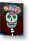 Calaveras Greeting Cards - Amiga Frida Greeting Card by Pristine Cartera Turkus