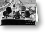 Country Scenes Photographs Greeting Cards - Amish Family Outing II Greeting Card by Julie Dant