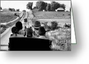 Amish Scenes Greeting Cards - Amish Family Outing Greeting Card by Julie Dant
