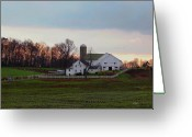 Silo Greeting Cards - Amish Farm at Dusk Greeting Card by Gordon Beck