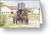 Buggy Greeting Cards - Amish Farm Horse and Buggy Greeting Card by Morgan Fitzsimons