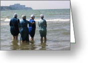 Lake Photographs Greeting Cards - Amish Girls in the Surf Greeting Card by MB Matthews