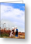 Amish Family Greeting Cards - Amish Mother and Child Greeting Card by Stephanie Frey