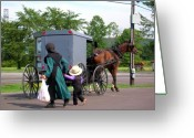 Amish Family Greeting Cards - Amish Mother and Son Greeting Card by George Jones