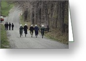 Peoples Greeting Cards - Amish People Visiting Middle Creek Greeting Card by Ira Block
