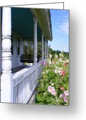 Amish Family Greeting Cards - Amish Porch Greeting Card by Ed Smith