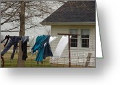 Amish Greeting Cards - Amish Washday - Allen County Indiana Greeting Card by Suzanne Gaff