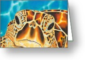 Life Tapestries - Textiles Greeting Cards - Amitie Sea Turtle Greeting Card by Daniel Jean-Baptiste