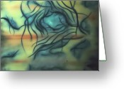 Vascular Painting Greeting Cards - Amoeba Greeting Card by Lidia Bergano