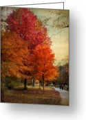 People Walking Greeting Cards - Among the Maples Greeting Card by Jessica Jenney