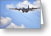 C130 Greeting Cards - Amongst the Clouds Greeting Card by Jason Politte
