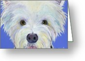 Dog Prints Greeting Cards - Amos Greeting Card by Pat Saunders-White