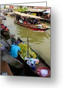 Lime Digital Art Greeting Cards - Ampawa Floating Market Greeting Card by Adrian Evans