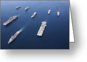 Frigate Greeting Cards - Amphibious Task Force-west In Formation Greeting Card by Stocktrek Images