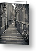 Alley Greeting Cards - Amsterdam Greeting Card by Adam Romanowicz