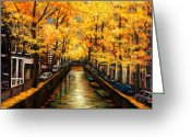 Autumn Art Greeting Cards - Amsterdam Autumn Greeting Card by Johnathan Harris
