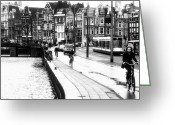 Bike Riding Greeting Cards - Amsterdam Bike Lane Greeting Card by John Rizzuto