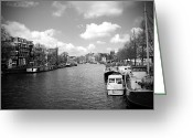 City And Colour Greeting Cards - Amsterdam BW Greeting Card by Kamil Swiatek