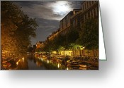 Nightlight Greeting Cards - Amsterdam by Night Greeting Card by Jim Ferrier