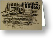 Canal Drawings Greeting Cards - Amsterdam Canal Greeting Card by Andrew Wilkie
