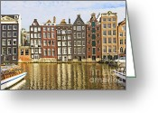 Gabled Greeting Cards - Amsterdam canal Greeting Card by Giancarlo Liguori