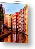 Colorful Buildings Greeting Cards - Amsterdam Greeting Card by Michael Pickett
