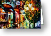 Europe Painting Greeting Cards - Amsterdam night rain Greeting Card by Leonid Afremov