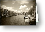 City And Colour Greeting Cards - Amsterdam Sepia Greeting Card by Kamil Swiatek