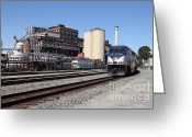 Blue Collar Greeting Cards - Amtrak California At The Old California and Hawaii Sugar Company . C and H . 5D16774 Greeting Card by Wingsdomain Art and Photography