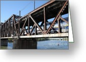 Rail Roads Greeting Cards - Amtrak California Crossing The Old Sacramento Southern Pacific Train Bridge . 5D18568 Greeting Card by Wingsdomain Art and Photography