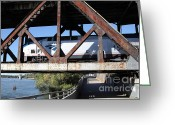 Rail Roads Greeting Cards - Amtrak California Crossing The Old Sacramento Southern Pacific Train Bridge . 5D18571 Greeting Card by Wingsdomain Art and Photography