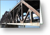 Rail Roads Greeting Cards - Amtrak California Crossing The Old Sacramento Southern Pacific Train Bridge . 5D18583 Greeting Card by Wingsdomain Art and Photography