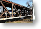 Locomotives Greeting Cards - Amtrak California Crossing The Old Sacramento Southern Pacific Train Bridge . 7D11410 Greeting Card by Wingsdomain Art and Photography