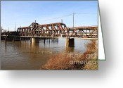 Old Bridge Greeting Cards - Amtrak California Crossing The Old Sacramento Southern Pacific Train Bridge . 7D11674 Greeting Card by Wingsdomain Art and Photography