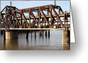 Tong River Greeting Cards - Amtrak California Crossing The Old Sacramento Southern Pacific Train Bridge . 7D11675 Greeting Card by Wingsdomain Art and Photography