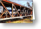 Tong River Greeting Cards - Amtrak California Crossing The Old Sacramento Southern Pacific Train Bridge . Painterly 7D11410 Greeting Card by Wingsdomain Art and Photography